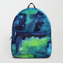 """Blue Dust"" Nebula watercolor painting Backpack"