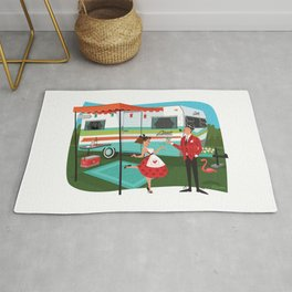 Happy Campers Vintage Travel Trailers, Caravans, Campers and Glamping Art Rug