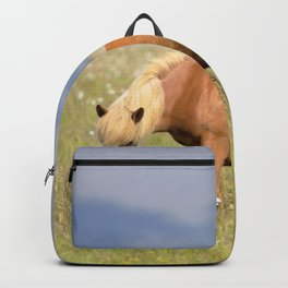 Watercolor Horse 14, Icelandic Pony, Höfn, Iceland, Blonds Eat More Grass Backpack