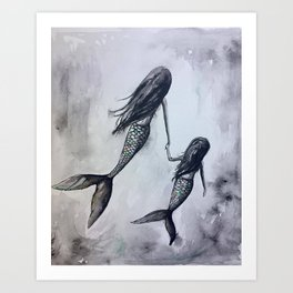 Mermaid Mommy and Daughter Art Print