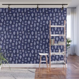 Blue & White Chinoiserie/ Delftware Pottery Pattern Wall Mural