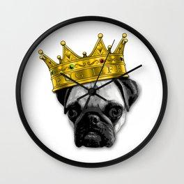 PUGS 4 LIFE! King Top Dog w/ Crown Funny Design K-9 PUGLIFE Wall Clock