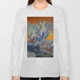AGAVE CACTI DESERT SUNSET LANDSCAPE ART Long Sleeve T-shirt
