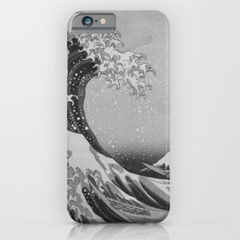 Black & White Japanese Great Wave off Kanagawa by Hokusai iPhone Case