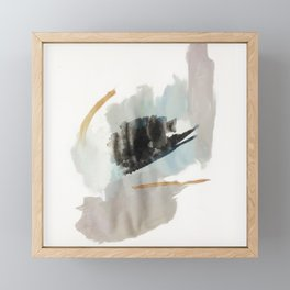 From a Distance - a minimal acrylic and ink abstract piece in blue, black, and tan Framed Mini Art Print