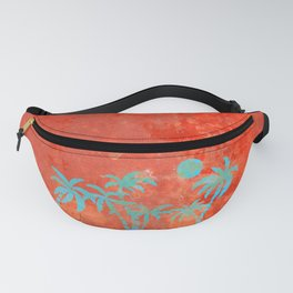 Tropical sunset with blue palm trees Fanny Pack