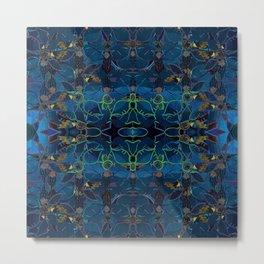 Enchantment- Blue Metallic Decoupage Flowers  Metal Print