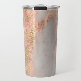 Rose Gold Marble with Yellow Gold Glitter Travel Mug