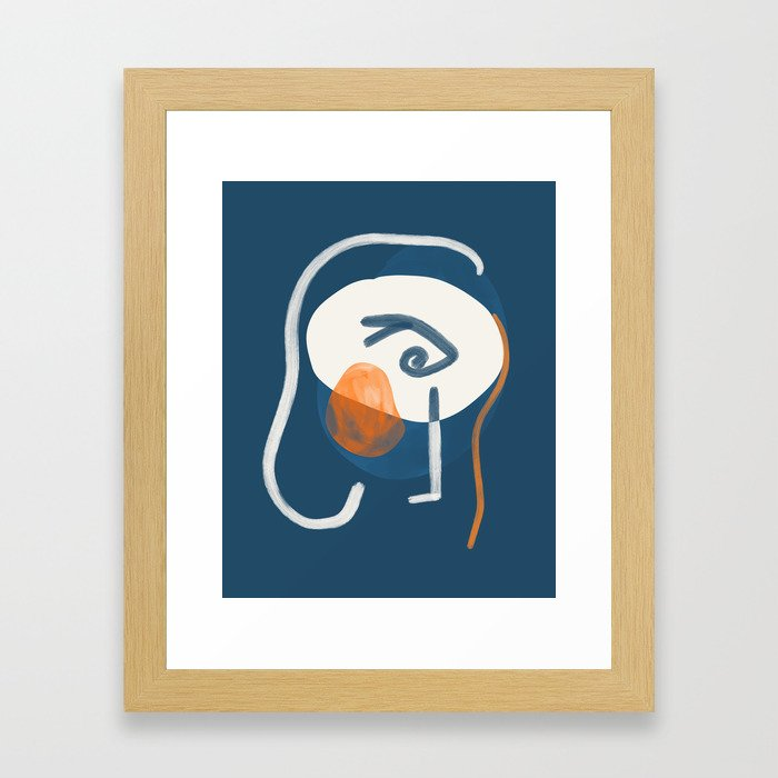 Woman in deep blue Framed Art Print