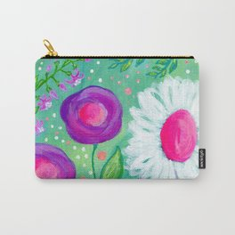 White Flowers, Purple Flowers, Floral Painting for Girl, Nursery Decor, Green, Blue, Coral Art Carry-All Pouch