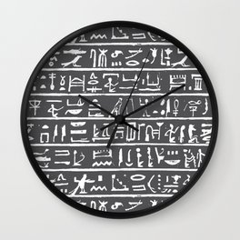 Egyptian Hieroglyphics // Charcoal Wall Clock