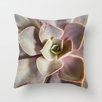 succulent Throw Pillows featuring succulent by Bonnie Jakobsen-Martin