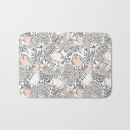 Seamless pattern design with hand drawn flowers and floral elements Bath Mat