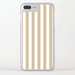 Narrow Vertical Stripes - White and Tan Brown Clear iPhone Case