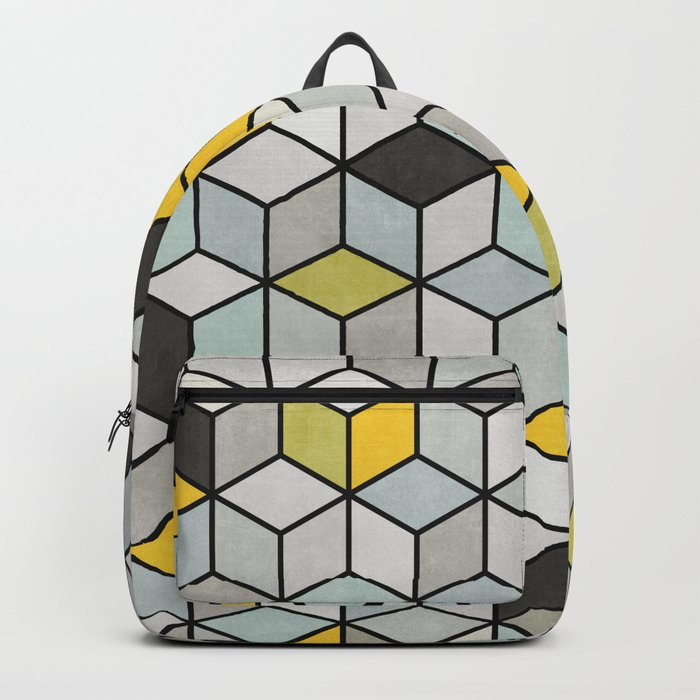 Colorful hexagon concrete cubes Backpack