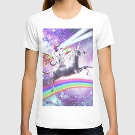 Lazer Rave Space Cat Riding Unicorn With Pizza T-shirt