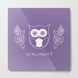 Up All Night? Cute Retro Owl and Roses Metal Print