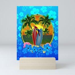 Blue Flowers Tropical Sunset Mini Art Print