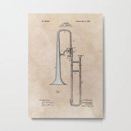 patent Hankey Slide Trombone 1902 Metal Print