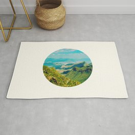 Mid Century Modern Round Circle Photo Graphic Design Vintage Pastel Green Mountain Valley Rug