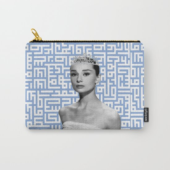 audrey - blue calligraphy background Carry-All Pouch