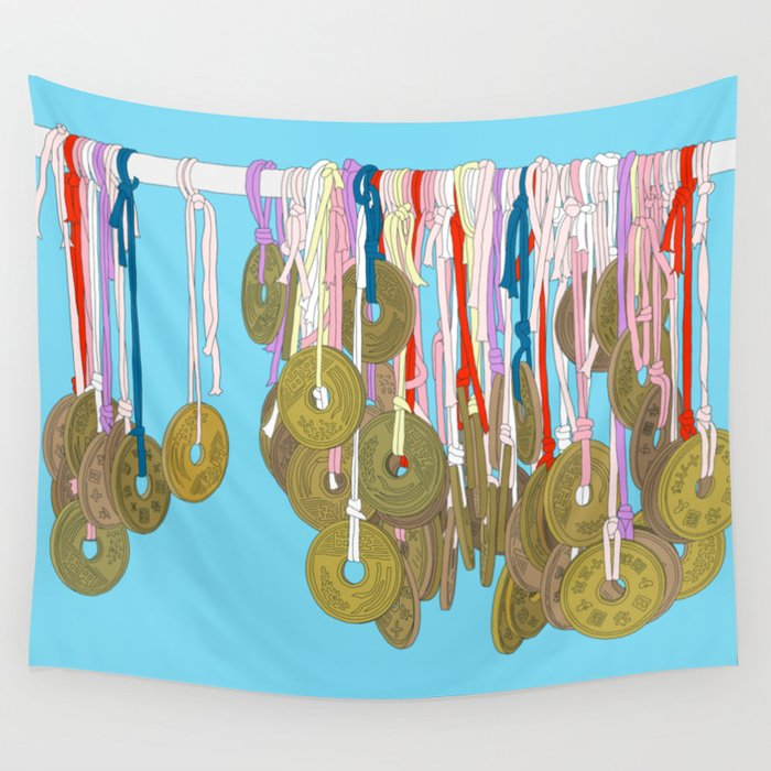 Lucky Five Yen Coins Wall Tapestry