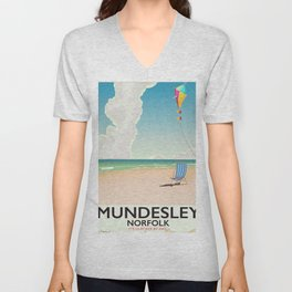 Mundesley Norfolk beach kite holiday poster Unisex V-Neck
