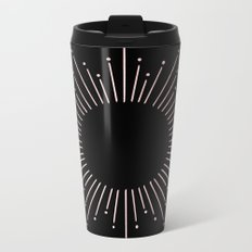 Sunburst Rose Quartz Elegance on Black Metal Travel Mug