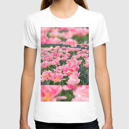 Blue forget-me-nots with pink tulips mix T-shirt