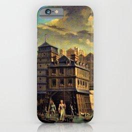 18th Century Paris, France along the River Seine by Jean Baptiste Nicolas Raguenet iPhone Case