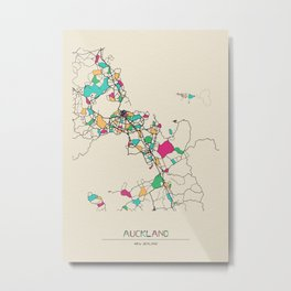 Colorful City Maps: Auckland, New Zealand Metal Print