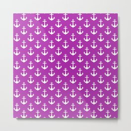Anchors (White & Purple Pattern) Metal Print