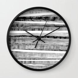 Black&Grey Watercolor Stripes Wall Clock