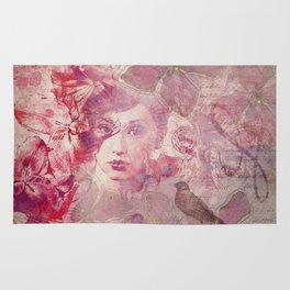 Lost Moments woman romantic illustration in shades of red Rug