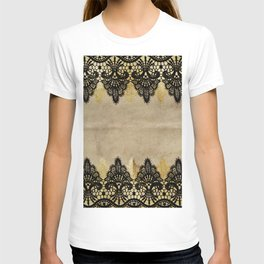 Elegance- Ornament black and gold lace on grunge paper backround T-shirt