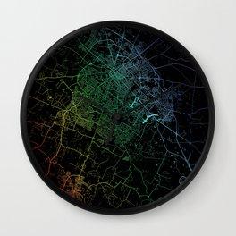 Lexington, KY, USA, City, Map, Rainbow, Map, Art, Print Wall Clock