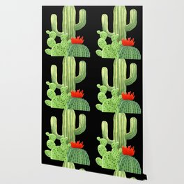 Perfect Cactus Bunch on Black Wallpaper