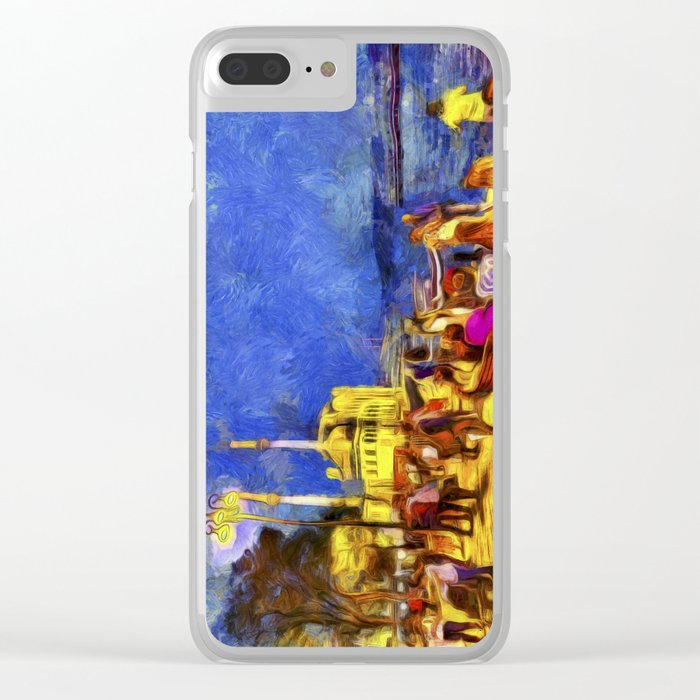 Istanbul At Night Van Gogh Clear iPhone Case