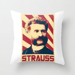 Johann Strauss II Retro Propaganda Throw Pillow
