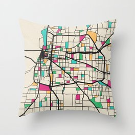 Colorful City Maps: Memphis, Tennessee Throw Pillow