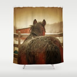 Horse Along a Fence with Snow in Winter. Golden Age Painting Style. Shower Curtain