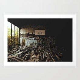 Olympic training center basketball court in Pripyat, Ukraine (Chernobyl) Art Print