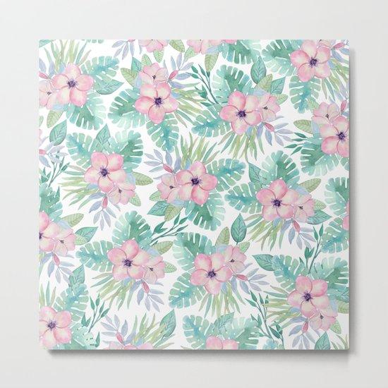 Blush pink green modern watercolor tropical floral Metal Print