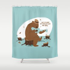 Brown Bear Blues Shower Curtain