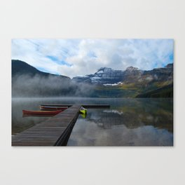 Canoes at Waterton Parks Canvas Print