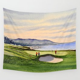 Pebble Beach Golf Course 9th Green Wall Tapestry