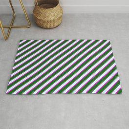 Dim Grey, Light Cyan, Fuchsia, and Dark Green Colored Striped/Lined Pattern Rug