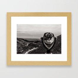 Mountain Tourist Binoculars Black and White Framed Art Print