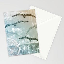 Free Like A Bird Seagull Mixed Media Art Stationery Cards