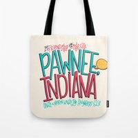 indiana Tote Bags featuring Pawnee, Indiana by Chelsea Herrick